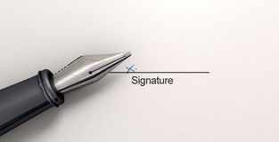 Signature X And Fountain Pen Stock Photos
