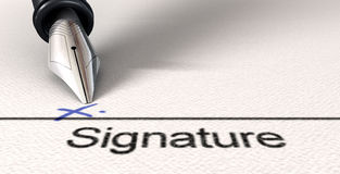 Signature X And Fountain Pen Royalty Free Stock Image