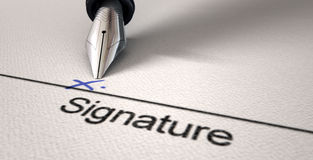 Signature X And Fountain Pen Royalty Free Stock Photo
