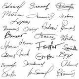 Signatures set fictitious contract. Signatures business autograph illustration vector illustration