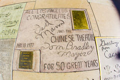 Signatures of Ted Mann and Tom Bradley in front of the TCL Chinese Theatre in Los Angeles Royalty Free Stock Images