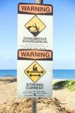 Signaux d'avertissement de plage de Hawaiin Images libres de droits