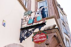 Signboard of an Alsatian museum in Strasbourg. Strasbourg, France - September 09, 2018: signboard of an Alsatian museum in Strasbourg. Strasbourg is the capital royalty free stock photos