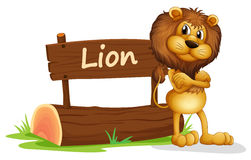 A signboard at the back of a scary lion Royalty Free Stock Image