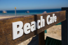 Signboard of beach cafe Stock Photography