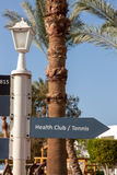 Signboard on the beach at hotel, Egypt Stock Image