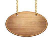 Signboard. Blank oval wooden signboard hanging on brass chains ,  on white Royalty Free Stock Image