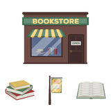 A signboard, a bookstore, a stack of books, an open book. A library and a bookstore set collection icons in cartoon Royalty Free Stock Photography