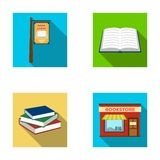 A signboard, a bookstore, a stack of books, an open book. A library and a bookstore set collection icons in flat style. Vector symbol stock illustration Royalty Free Stock Image