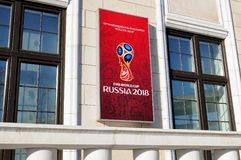 Signboard on the building of the FIFA World Cup of 2018 in Russia. Moscow, Russia - March 24, 2018: Signboard on the building of the local organizing committee Stock Photo