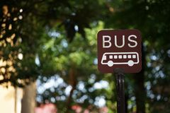 Signboard of the bus stop Royalty Free Stock Photos