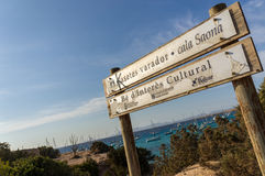Signboard of Cala Saona. The signboard of Cala Saona, a fantastic place in Formentera, Spain Royalty Free Stock Photography