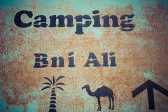 Signboard camping Stock Photography