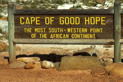Signboard on cape of good hope Stock Images