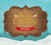 Signboard with Christmas greeting against a winter landscape. Merry Christmas and Happy New Year wishes. Vector Stock Photos