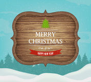Signboard with Christmas greeting against a winter landscape. Merry Christmas and Happy New Year wishes. Vector Royalty Free Stock Photos