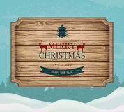 Signboard with Christmas greeting against a winter landscape. Merry Christmas and Happy New Year wishes. Vector Stock Photo