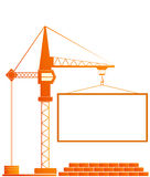 Signboard of construction. With crane and bricks Stock Photos