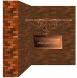Signboard copper brick wall vintage Royalty Free Stock Image