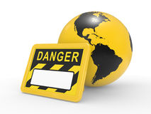 Signboard danger and a planet the earth Stock Image
