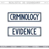 Criminology. Evidence. Car license plate stylized signboard. Signboard design. Criminology. Evidence. Car license plate stylized. Vector elements Stock Photography
