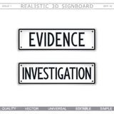Evidence. Investigation. Signboard design. Signboard design. Evidence. Investigation. Car license plate stylized. Vector elements Royalty Free Stock Photos