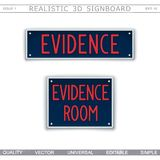 Signboard design. Evidence Room. Car license plate stylized. Vector elements Stock Photo