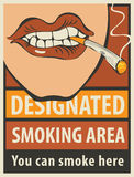 Signboard designated smoking area Stock Photos