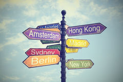 Signboard with directions to Countries. Colorful Signboard with directions to Countries Royalty Free Stock Photo
