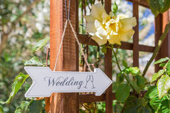 Signboard directions to the wedding. Royalty Free Stock Photography