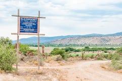 Signboard dla gospodarstwa rolnego i biznes w Baviaanskloof Fotografia Royalty Free