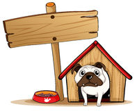 A signboard beside a doghouse with a dog Royalty Free Stock Image