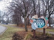 Signboard of the Henry Vilas Zoo in Madison, United States. Signboard of the entrance of the Henry Vilas Zoo in the city of Madison, Wisconsin, United States stock photography