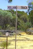 Signboard of the famous Holland Track, an unsealed 4WD route in the Outback of Western Australia Stock Photo