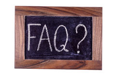 Signboard FAQ. Written in chalk. Sign FAQ. Written in chalk. Isolated Royalty Free Stock Photos