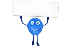 Signboard. A furry male cartoon character holding a signboard over his head. 3D illustration Royalty Free Stock Photos