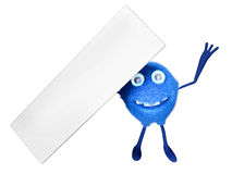 Signboard. A furry male cartoon character holding a signboard over his head. 3D illustration Stock Photo