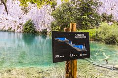 Signboard of Gavanovac at the Lower Lakes of Plitvice Lakes National Park stock photos