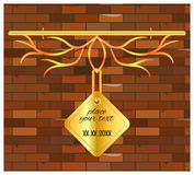 Signboard gold  brick wall vintage Stock Images