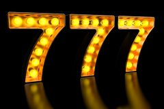 777 signboard from golden light bulb letters, retro glowing font. 3D rendering. 777 signboard from golden light bulb letters, retro glowing font. 3D stock illustration