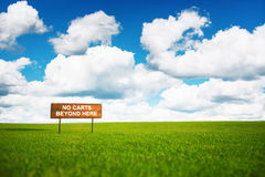 Signboard on a golf field, beautiful landscape with fluffy cloud Stock Photo