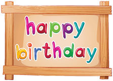 A signboard with a happy birthday template Royalty Free Stock Images
