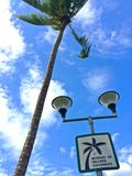 Signboard on a lamp post at Pasir Ris beach, Singapore Stock Photo