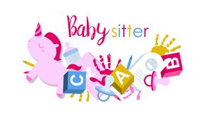 Signboard or logo for babysitter. With kids toys, handprints, baby pacifier and pencils Royalty Free Stock Photography