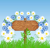 Signboard on the meadow with flowers Stock Images