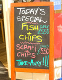 Signboard: menu and prices. Stock Image