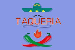 Signboard for mexican `taqueria` Royalty Free Stock Images