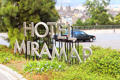 Signboard Miramar Hotel and view of Barcelona Stock Photo