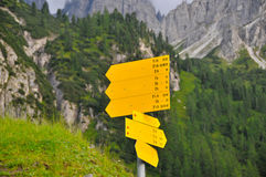 Signboard in mountains Royalty Free Stock Image
