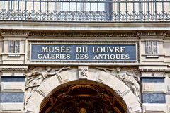 Signboard of Musee du Louvre Stock Photography